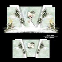 白绿色大理石纹婚礼迎宾区效果图设计婚庆