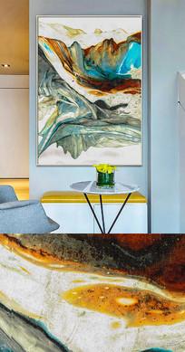 北欧现代新中式抽象油画金色流彩装饰画