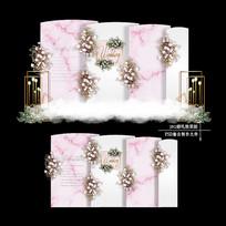 粉色主题婚礼效果图设计大理石纹婚庆背景