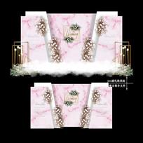 粉色主题婚礼迎宾区效果图设计婚庆舞台背景