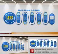 蓝色大型企业发展历程立体文化墙
