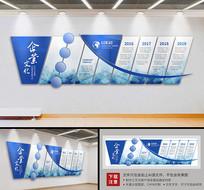 蓝色大型企业立体文化墙