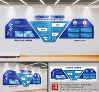 蓝色科技大型办公形象墙企业文化墙