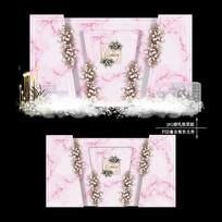 裸粉色婚礼效果图设计欧式大理石纹婚庆