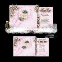 裸粉色婚礼迎宾区效果图设计大理石婚庆背景