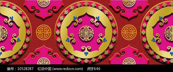 蒙古族背景图案红图片