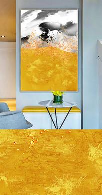 现代新中式抽象金色晶瓷画装饰画