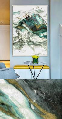 现代新中式抽象油画金色流彩装饰画