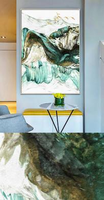 新中式抽象金色流彩现代装饰画