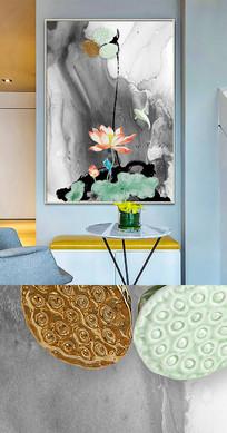 新中式荷花鱼抽象晶瓷画金箔画装饰画