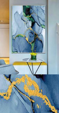 新中式流彩抽象手绘晶瓷画金箔画
