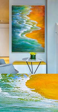新中式流彩大海抽象手绘晶瓷画金箔画装饰画