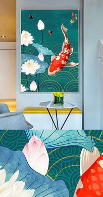 新中式中国风工笔荷花鱼晶瓷画金箔画装饰画