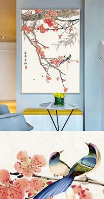 新中式中国风工笔花鸟晶瓷画金箔画装饰画