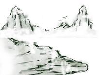 原创山水写意插画元素