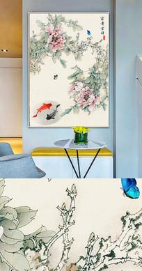 中国风工笔花鸟晶瓷画金箔画装饰画