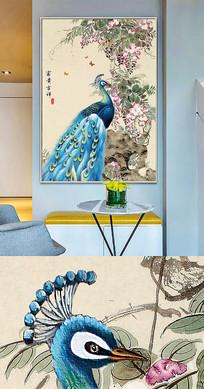 中国风工笔孔雀晶瓷画金箔画装饰画