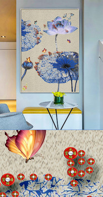 中国风荷花晶瓷画金箔画装饰画