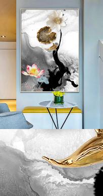 中国风荷花鱼晶瓷画金箔画装饰画