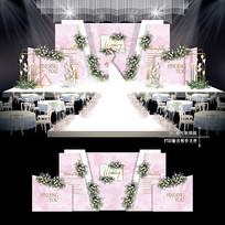 白粉色大理石纹主题婚礼背景板