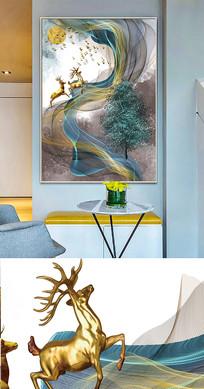 北欧现代简约麋鹿抽象创意晶瓷画装饰画