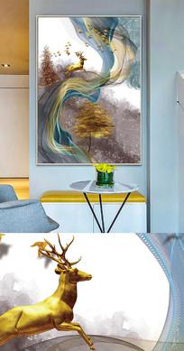 北欧现代简约麋鹿抽象线条晶瓷画装饰画