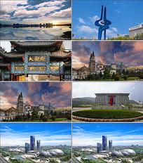大气震撼济南城市地标建筑延时视频素材
