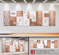 复古木风企业文化墙设计