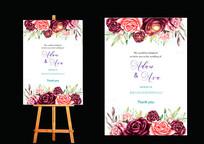 花卉婚礼水牌设计