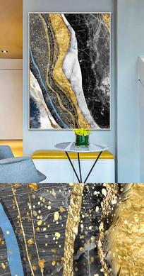 现代简约流彩抽象晶瓷画金箔画装饰画