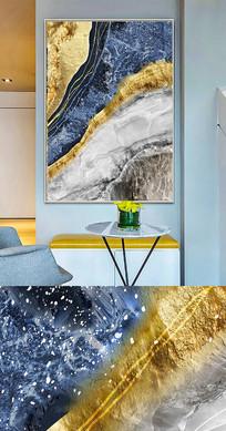现代简约流彩色块抽象晶瓷画金箔画装饰画