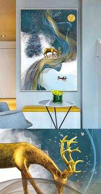 现代简约麋鹿抽象创意晶瓷画装饰画
