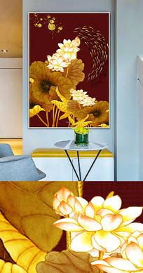 新中式工笔荷花创意晶瓷画装饰画