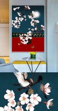 新中式工笔花鸟创意晶瓷画装饰画
