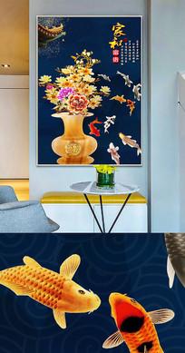 新中式中国风花瓶牡丹创意晶瓷画装饰画