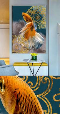 新中式中国风金鱼创意晶瓷画装饰画