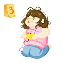 原创手绘胖女孩休闲打游戏插画元素