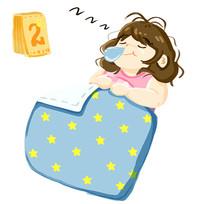 原创手绘胖女孩休闲睡觉插画元素