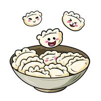 原创元素可爱表情饺子