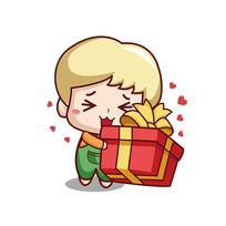 收礼物的男孩子