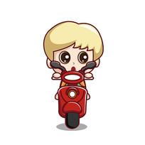 骑电动车的男孩