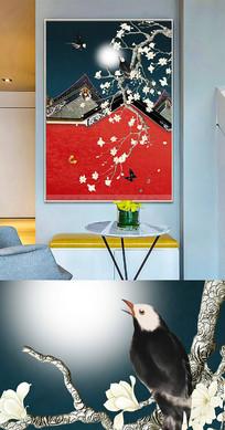 中国风工笔花鸟创意晶瓷画装饰画