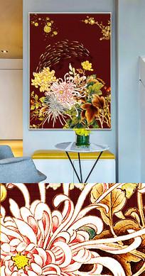 中国风工笔花鸟鱼群创意晶瓷画装饰画