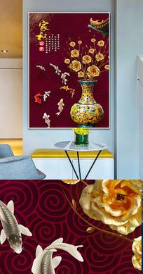 中国风工笔花瓶创意晶瓷画装饰画