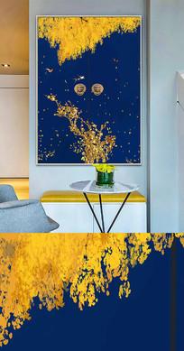 中国风工笔金色树花鸟创意晶瓷画装饰画