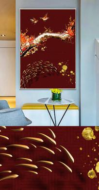 中国风梅花鱼群创意晶瓷画装饰画