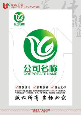 K字母飞鸟绿叶标志LOGO设计