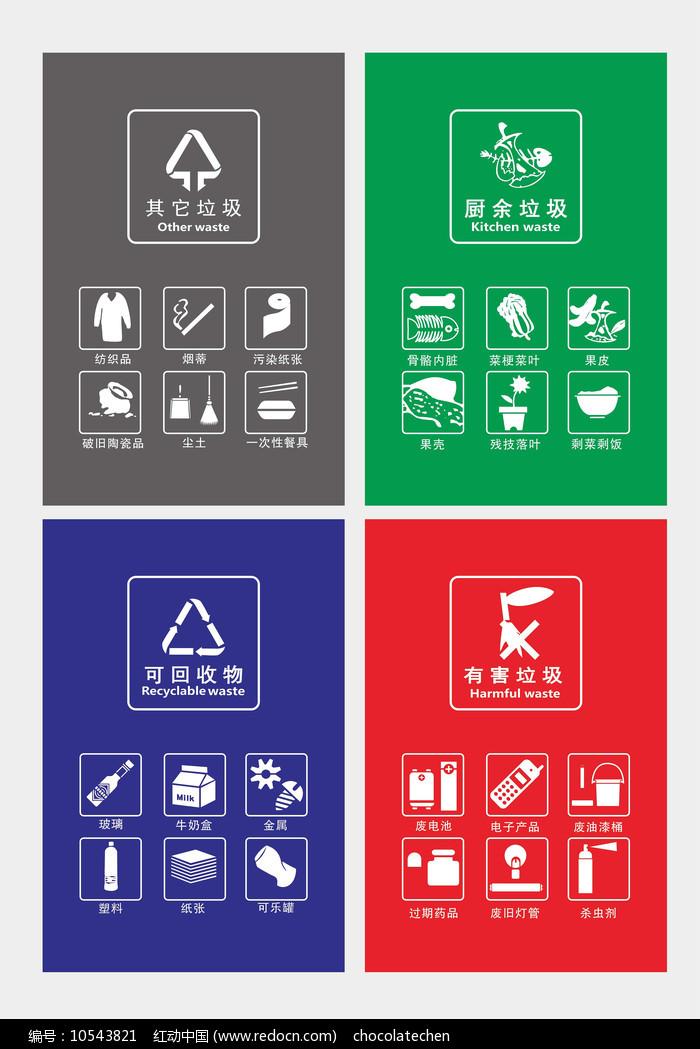 高清矢量垃圾分类图标展板图片