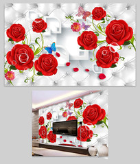 软包红玫瑰3D电视背景墙壁画图片