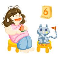 手绘10月6日吃西瓜人物插画元素